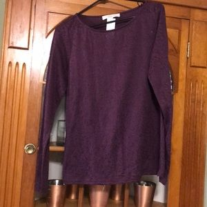 Knit purple long sleeve loft top